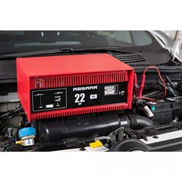 Absaar 635622 77917 Batterieladegerät Auto Ladegerät 22A 12V mit Starthilfefunktion, für 30 Ah - 225 Ah Batterien, rot/schwarz - 1