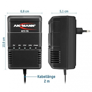ANSMANN Autobatterie Ladegerät ALCS 2-24 A - Vollautomatisches Batterieladegerät für Autobatterien & Bleiakkus mit 2V, 6V, 12V & 24V / 900mA - Erhaltungsladegerät ideal für PKW, Motorrad, Roller - 3
