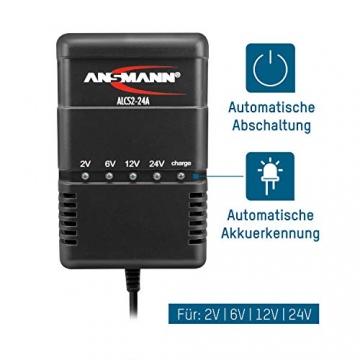 ANSMANN Autobatterie Ladegerät ALCS 2-24 A - Vollautomatisches Batterieladegerät für Autobatterien & Bleiakkus mit 2V, 6V, 12V & 24V / 900mA - Erhaltungsladegerät ideal für PKW, Motorrad, Roller - 5