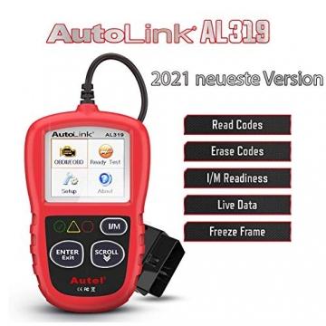 Autel obd2 Diagnosegerät AL319 EOBD Diagnose für Diesel und Benzin Fehlercode lesen und löschen,MIL ausschalten,Echtzeitdaten und Freeze Frame anzeigen,DTC-Definition - 1
