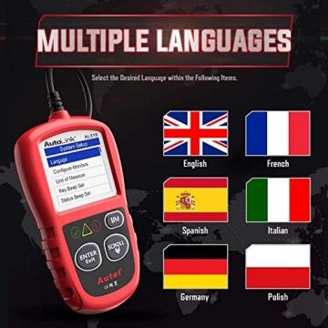 Autel obd2 Diagnosegerät AL319 EOBD Diagnose für Diesel und Benzin Fehlercode lesen und löschen,MIL ausschalten,Echtzeitdaten und Freeze Frame anzeigen,DTC-Definition - 5