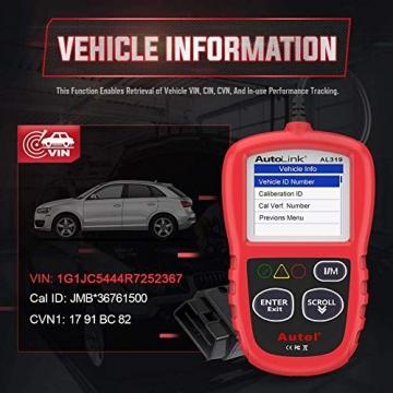Autel obd2 Diagnosegerät AL319 EOBD Diagnose für Diesel und Benzin Fehlercode lesen und löschen,MIL ausschalten,Echtzeitdaten und Freeze Frame anzeigen,DTC-Definition - 7