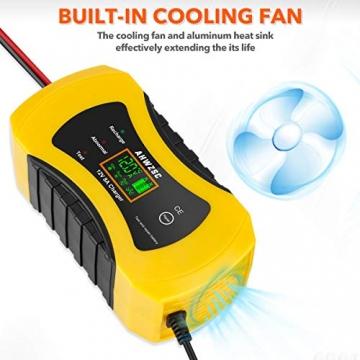Autobatterie Ladegerät 8A 12V Batterieladegerät Auto Vollautomatisches Ladegerät mit LCD-Bildschirm Batterieladegerät für Auto, Motorrad, Boote und mehr - 2