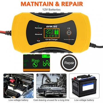 Autobatterie Ladegerät 8A 12V Batterieladegerät Auto Vollautomatisches Ladegerät mit LCD-Bildschirm Batterieladegerät für Auto, Motorrad, Boote und mehr - 3