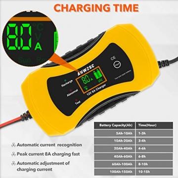 Autobatterie Ladegerät 8A 12V Batterieladegerät Auto Vollautomatisches Ladegerät mit LCD-Bildschirm Batterieladegerät für Auto, Motorrad, Boote und mehr - 4
