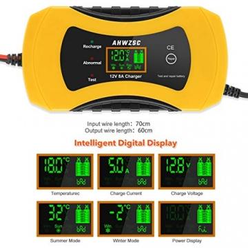 Autobatterie Ladegerät 8A 12V Batterieladegerät Auto Vollautomatisches Ladegerät mit LCD-Bildschirm Batterieladegerät für Auto, Motorrad, Boote und mehr - 5