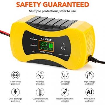 Autobatterie Ladegerät 8A 12V Batterieladegerät Auto Vollautomatisches Ladegerät mit LCD-Bildschirm Batterieladegerät für Auto, Motorrad, Boote und mehr - 6