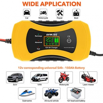 Autobatterie Ladegerät 8A 12V Batterieladegerät Auto Vollautomatisches Ladegerät mit LCD-Bildschirm Batterieladegerät für Auto, Motorrad, Boote und mehr - 7