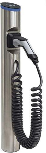 Hesotec Electrify eSat r20 Base - EV Ladestation Typ 2 Elektroautos Hybridautos + Ladekabel, Fundamentgestell und APP I Ladesäule 11 kW Ladeleistung 16 A Ladestrom – Ladegerät für E-Autos (Edelstahl) - 1