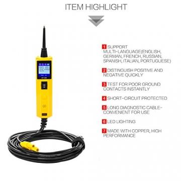 KFZ Auto Power Probe Kit, AUTOOL 6-30V Elektrisches Diagnosegerät KFZ Multimeter Voltmeter Auto Spannungsprüfer mit LED Lampe für 6V/12V/24V für Auto Boot Motorrad Schaltkreis Systeme - 7