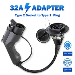 Morec EV Adapter Ladekabel für Elektrofahrzeuge Verwandelt Ihr Ladegerät Ladestation Typ 2 in Typ 1 32A Einphasig, IEC 62196-2 zu SAE J1772 … - 1
