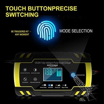 NWOUIIAY Autobatterie Ladegerät 8A/12V 4A/24V Batterieladegerät Auto Vollautomatisches Ladegerät mit LCD-Bildschirm Batterieladegerät für Auto - 2