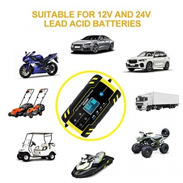 NWOUIIAY Autobatterie Ladegerät 8A/12V 4A/24V Batterieladegerät Auto Vollautomatisches Ladegerät mit LCD-Bildschirm Batterieladegerät für Auto - 3