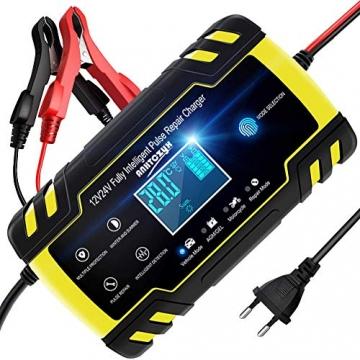 NWOUIIAY Autobatterie Ladegerät 8A/12V 4A/24V Batterieladegerät Auto Vollautomatisches Ladegerät mit LCD-Bildschirm Batterieladegerät für Auto - 1