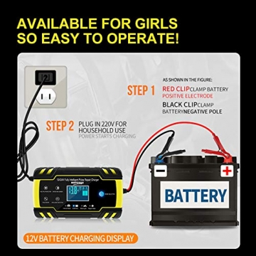 NWOUIIAY Autobatterie Ladegerät 8A/12V 4A/24V Batterieladegerät Auto Vollautomatisches Ladegerät mit LCD-Bildschirm Batterieladegerät für Auto - 6