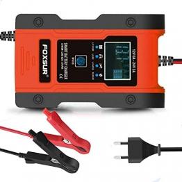 OHMOTOR Autobatterie Ladegerät 6A 12V/24V, Batterieladegerät Vollautomatisches Intelligentes KFZ Ladegeräte mit LCD-Touchscreen für Auto, Motorrad, Rasenmäher oder Boot, Rot - 1