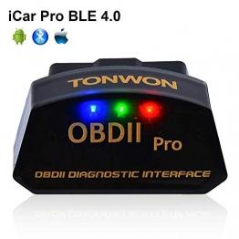 TONWON OBD2 Bluetooth, OBDII Scanner Diagnosegerät Adapter Auto KFZ Diagnosegerät für iOS, Android und Windows - 1