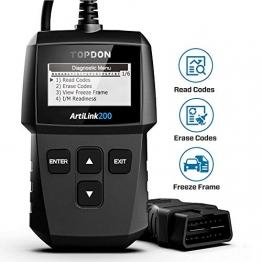 TOPDON AL200 OBD2 diagnosegerät Auto Universal OBD2-Scanner, kfz Fehlercode-Auslesegerät Fehlercode auslesen/löschen, Überprüfung der I/M-Bereitschaft - 1
