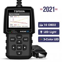 TOPDON OBD2 diagnosegerät AL500 Auto OBDII Scanner mit 10 OBD2-Funktionen, Universal Deutsch-Fehlercode-Auslesegerät, Free Update, DTC-Suche, Daten drucken, 7 Sprachen - 1
