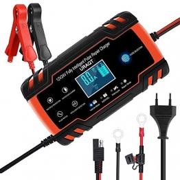 URAQT Ladegerät Autobatterie, 8A 12V/24V KFZ Batterieladegerät Auto mit LCD-Touchscreen, Batterie Vollautomatisches Intelligentes Erhaltungsladegerät für Auto, Motorrad, Rasenmäher oder Boot (#1) - 1