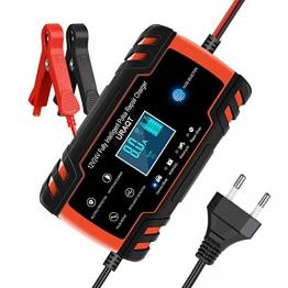 URAQT Ladegerät Batterie Auto, Autobatterie Ladegeräte 8A 12V/24V, Vollautomatisches Batterieladegerät KFZ mit LCD-Bildschirm Batterieladegerät, Erhaltungsladegerät mit Mehrfachschutz (#1) - 1