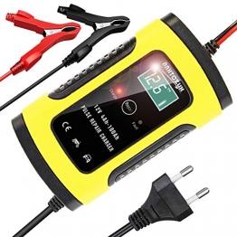 YDBAO Autobatterie Ladegerät 6A 12V Batterie Ladegerät Batterieladegerät mit LCD Bildschirm Impulsreparatur für Altbatterien und Schwefel Säure Batterien von Kraftfahrzeuge und Motorräder - 1