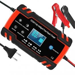 Yomao Autobatterie Ladegeräte 8A 12V/24V Vollautomatisches Batterieladegerät KFZ mit LCD-Bildschirm Erhaltungsladegerät für Auto und Motorrad (für Batterien von 6Ah-150Ah) - 1
