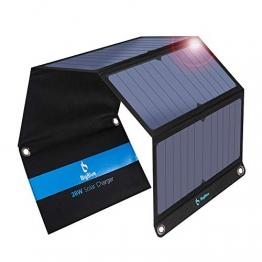 BigBlue 28W tragbar Solar Ladegerät 2-Port USB 4 wasserdichte Solarpanel mit digital Amperemeter und Reißverschluss zum Schutz - für Wiederaufladen USB-Geräte - iPhone Android GoPro usw (MEHRWEG) - 1
