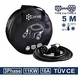 DA Hi EV Ladekabel Typ 2 11KW 5m 16A 3 phasig für Elektroauto und PHEV kompatibel mit ID.3 ID.4 Kona i3 Corsa-e e-Golf e-Tron EQA EQV Q5 e2008 e-208 XC40 u.a, IP54 weiß/schwarz - 1