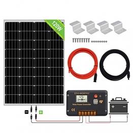 ECO-WORTHY 120W 12V Solarpanel-Kit mit 20A Solarladeregler & 5m Solarkabel & Z-Halterungen für Wohnmobil-Wohnmobile für Wohnmobile (120W Solarpanel-System) - 1