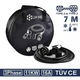 EV Ladekabel Typ 2 11KW 7m 16A 3 phasig für Elektroauto und PHEV kompatibel mit ID.3 ID.4 Kona i3 Corsa-e e-Golf e-Tron EQA EQV Q5 e2008 e-208 XC40 u.a, IP54 weiß/schwarz - 1