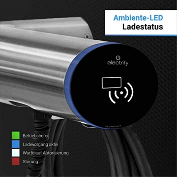 Hesotec Electrify eBox wr30-R Base - EV Ladestation Typ 2 Elektroautos Hybridautos + 4m Ladekabel, Walladapter und APP I Wallbox 11 kW Ladeleistung 16 A Ladestrom – e- Mobile Wallbox (Edelstahl) - 4