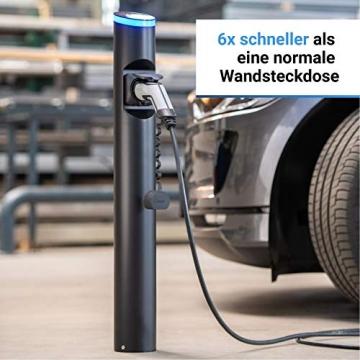 Hesotec Electrify eSat r10 Base - EV Ladestation Typ 2 Elektroautos Hybridautos mit Fundamentgestell + APP I Ladesäule 11 kW Ladeleistung 16 A Ladestrom – Ladegerät für E-Autos (Edelstahl) - 2