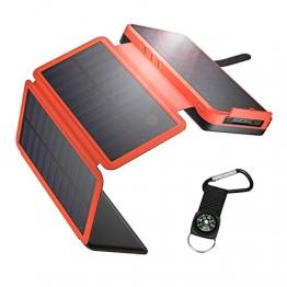 IEsafy Solar Powerbank 26800mAh Solar Ladegerät Outdoor mit 4 Solarpanel Externer Akku Taschenlampe Kompass geeignet für Handy Tablet Smartphone(Orange) - 1