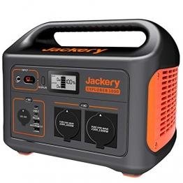 Jackery Tragbare Powerstation Explorer 1000 - 1002 Wh AKKU Solar Generator & Mobiler Stromspeicher mit 230V Steckdose + USB für Outdoor, Camping, Garten, Party, Heimwerken und als Notstromaggregat - 1