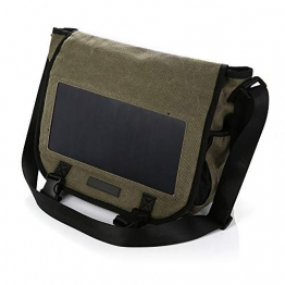 KEYBAO 6.5W Solar Chargeable Messenger Bag mit 10000mAh Power Bank, Casual Canvas Crossbody Schulter Rucksack,Braun - 1