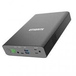 Litionite Dragon 130W / 60000mAh Power Bank/Externe Batterie/Mini Tragbarer Stromgenerator - 1x AC Netzsteckdose - 2x USB (Quick Charge) - 1x USB Type-C - Ladegerät für Smartphone/Drohne/Laptop/Tablet - 1