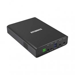 Litionite Venom 120W / 64000mAh Power Bank/Tragbarer Externer Akku mit LED-Anzeige - 2X DC (bis zu 24V) - 2X USB - 1x PD 100W Type C - Ladegerät/Netzteil für Smartphone/Tablet/MacBook/Computer/Laptop - 1