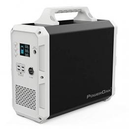 PowerOak Tragbare Power Station 1500Wh/1000W(101351mAh/14.8V), Akku Generator mit Lithium-Batterie, 230V AC, DC-Port PD Type-C und USB Anschlüsse für Reise Camping Emergency - 1