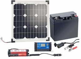 revolt Solaranlage Set: Solarpanel (20 W) mit Akku, Laderegler und 230-V-Wandler (Solarpanel 20W) - 1