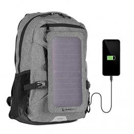 SUNNYBAG Explorer+ Solar-Rucksack mit abnehmbarem 6 Watt Solar-Panel   USB-Anschluss   Inklusive Laptop-Fach für 15,6 Zoll Notebook   15 Liter   Wasserabweisend   grau-schwarz - 1