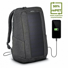 SUNNYBAG Iconic Solar-Rucksack mit integriertem 7 Watt Solar-Panel   USB-Anschluss   Wireless-Charging   17-Zoll Laptopfach   20 Liter   Wasserabweisendes Recycling-Textil   Graphite - 1