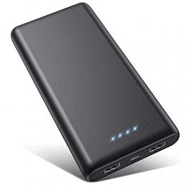 VOOE Power Bank 26800mAh【Hohe Effizienz- Ultrahohe Kapazität】 Externer Akku Power Pack Ladegerät Akkupack 3.1A 2-Port Ausgang Powerbank für Handy Tablet - Schwarz - 1
