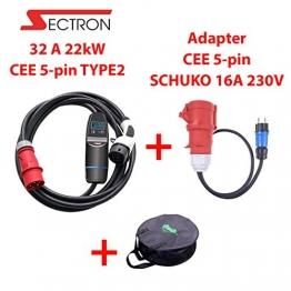 EV ladegerät 3 Phasig Typ 2 tragbares 32 A 22kW EV ladestation für Elektroauto Ladekabel auf CEE EVSE IEC 62196-2, TUV, CE Plus Adapter CEE 5pin - SCHUKO 16A 230V Mit Einer Tasche - 1