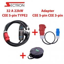 EV ladegerät 3 Phasig Typ 2 tragbares 32 A 22kW EV ladestation für Elektroauto Ladekabel auf CEE EVSE IEC 62196-2, TUV, CE plus Adapter CEE 5pin - CEE 3pin 16A 230V 1m für Kemping Mit einer Tasche - 1
