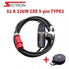 SECTRON EV ladegerät 3 Phasig Typ 2 tragbares 32 A 22kW EV ladestation für Elektroauto Ladekabel auf CEE EVSE IEC 62196-2, TUV, CE, Mit Einer Tasche - 1