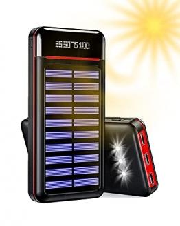 Aikove Solar Powerbank, 24000mAh Externer Akku, 4 USB mit 2.4A Ausgänge Tragbares Ladegerät für Aktivitäten im Freien, USB-C Eingang Schnellladen Power Bank Kompatibel für Handy und Tablet - 1