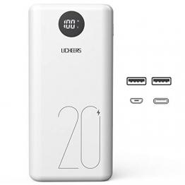 licheers 20000mAh Externer Akku, hohe Kapazität Powerbank mit 2 USB Ausgängen und LCD Anzeige für iPhone, iPad, Samsung Galaxy und viele mehr (Weiß) - 1