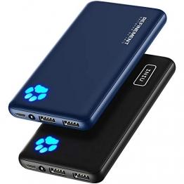 INIU Power Bank, [2 Pack] Am schlanksten & leichtesten USB C 10000 mAh Externer Akku, DREI 3A-Ausgänge Handy Powerbank mit Taschenlampe für iPhone 12 Samsung Huawei Xiaomi iPad Airpods Android mehr. - 1